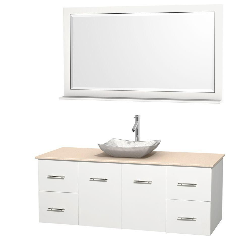 Centra 60-inch W Vanity in White with Marble Top in Ivory with White Basin and Mirror