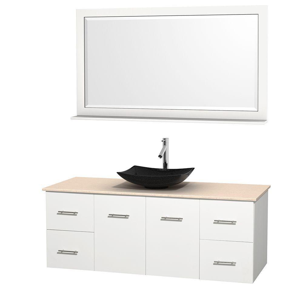 Meuble simple Centra 60 po. blanc, comptoir marbre ivoire, lavabo granit noir, miroir 58 po.