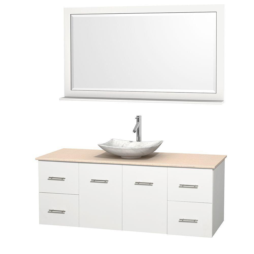 Meuble simple Centra 60 po. blanc, comptoir marbre ivoire, lavabo blanc Carrare, miroir 58 po.