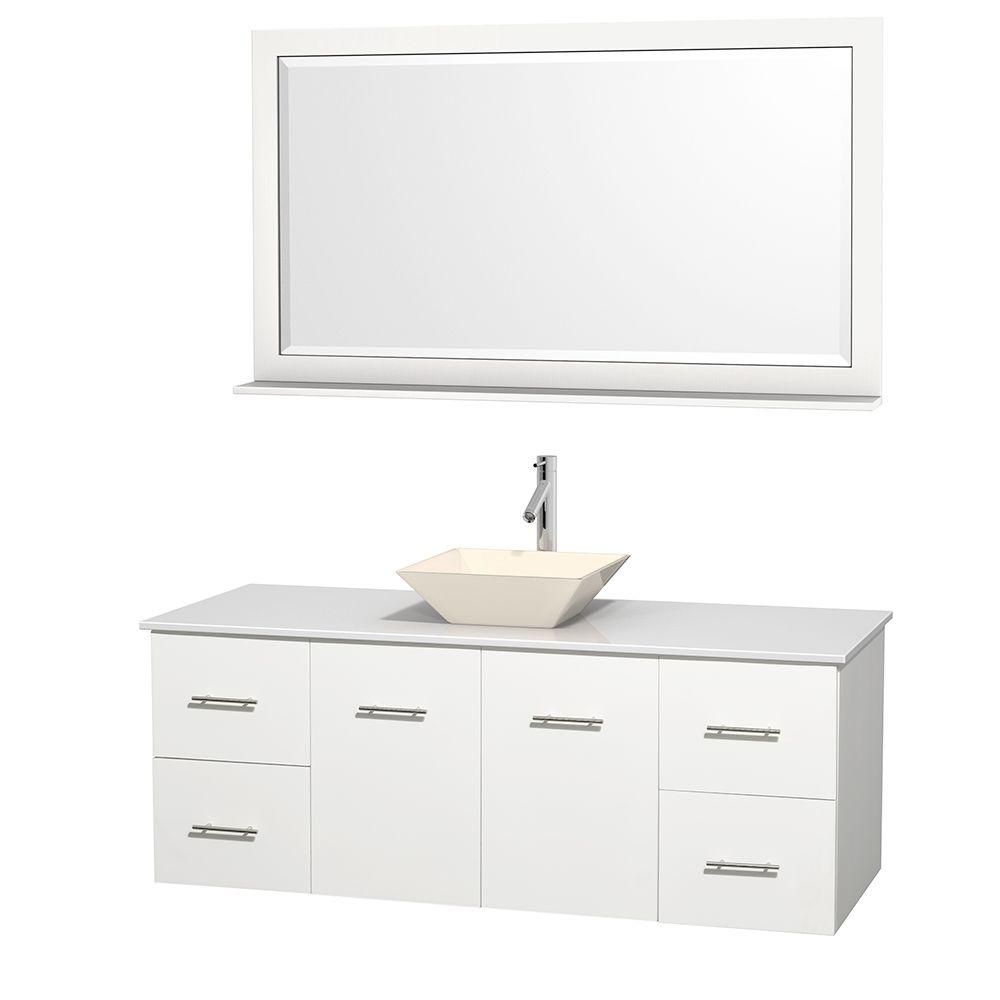 Centra 60-inch W Vanity in White with Solid Top with Bone Basin and Mirror