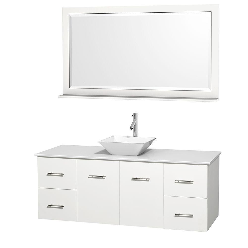 Meuble unique Centra 60 po. blanc, comptoir solide, lavabo porcelaine blanche, miroir 58 po.