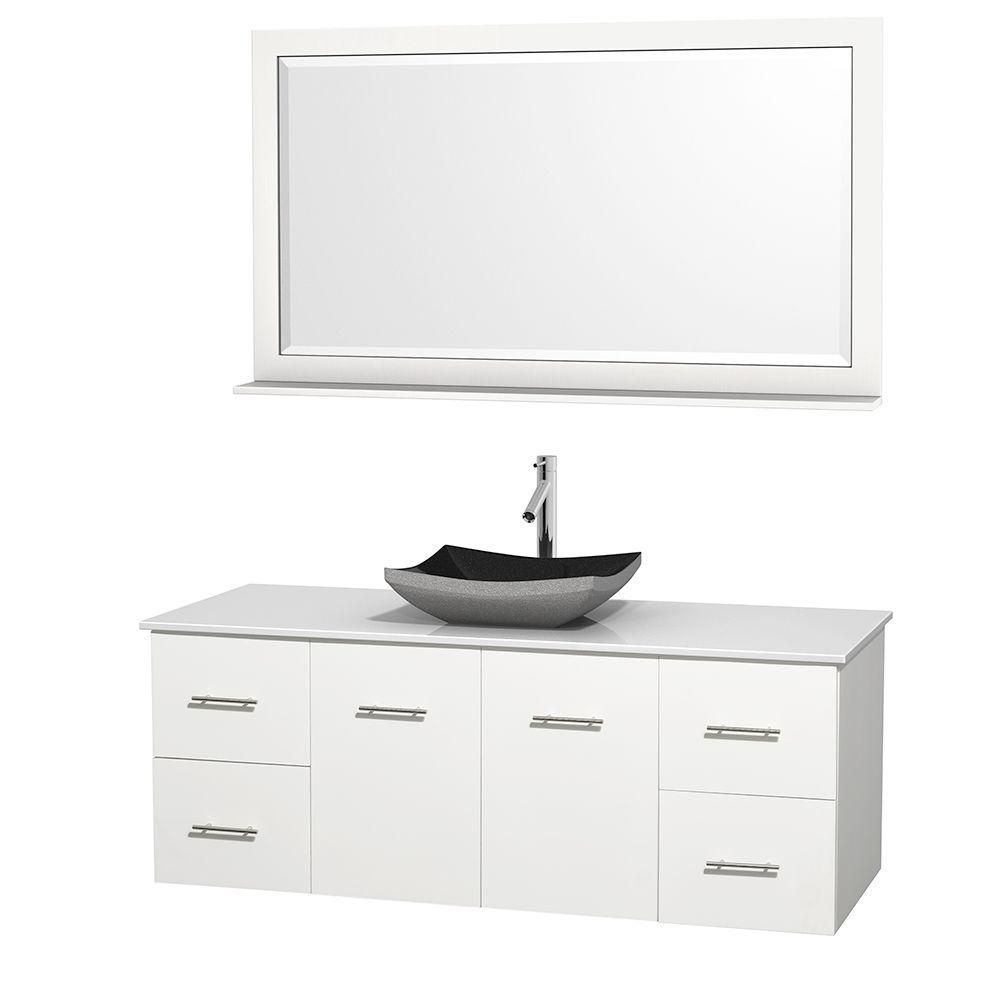 Centra 60-inch W Vanity in White with Solid Top with Black Basin and Mirror
