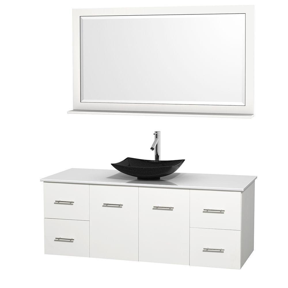 Meuble simple Centra 60 po. blanc, comptoir solide, lavabo granit noir, miroir 58 po.