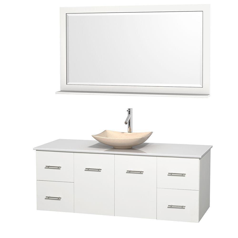 Meuble simple Centra 60 po. blanc, comptoir solide, lavabo ivoire, miroir 58 po.