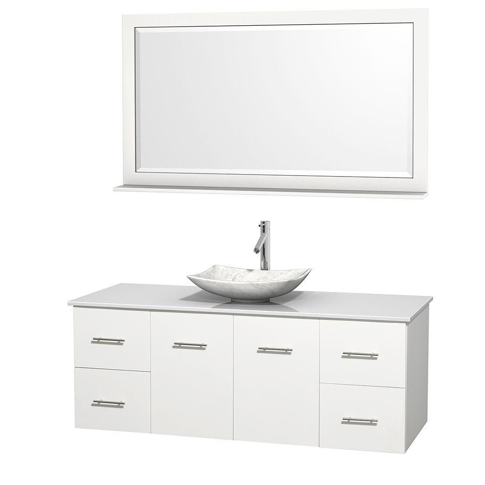 Centra 60-inch W Vanity in White with Solid Top with White Basin and Mirror