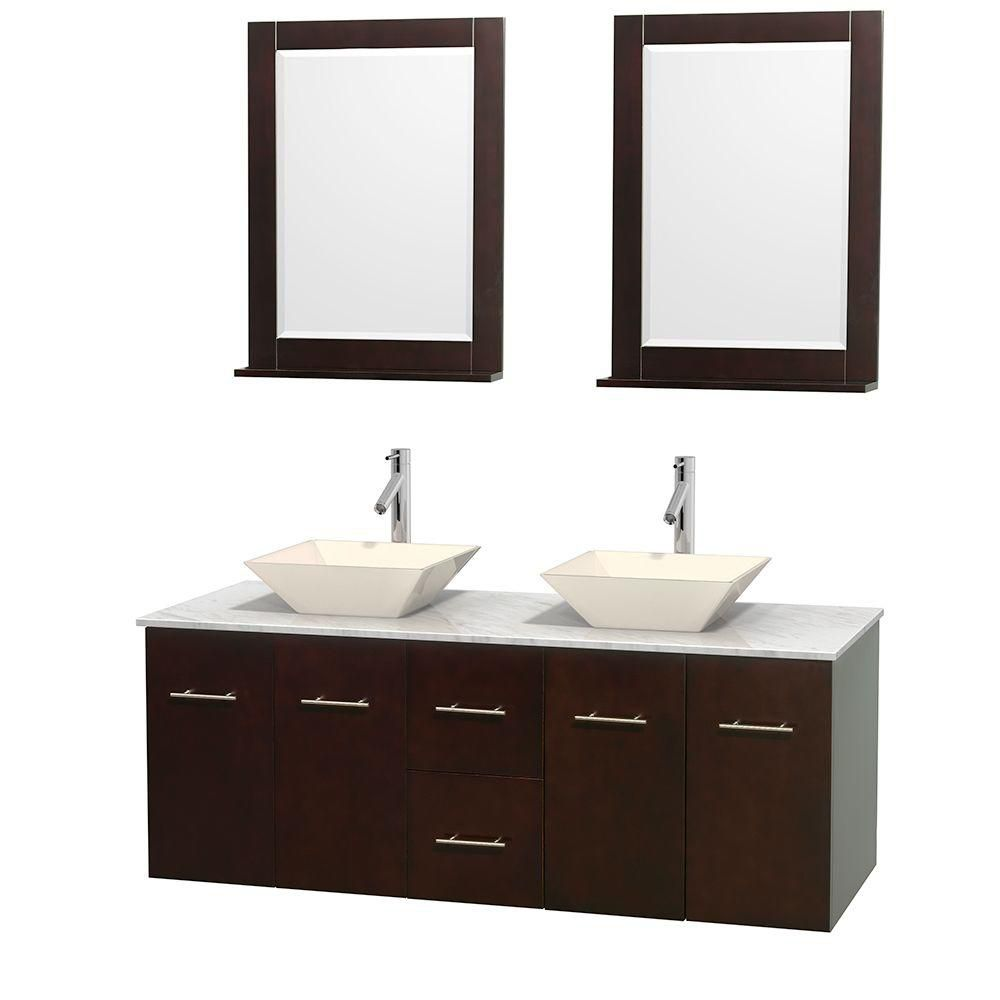 Centra 60-inch W Double Vanity in Espresso with White Top with Bone Basins and Mirror