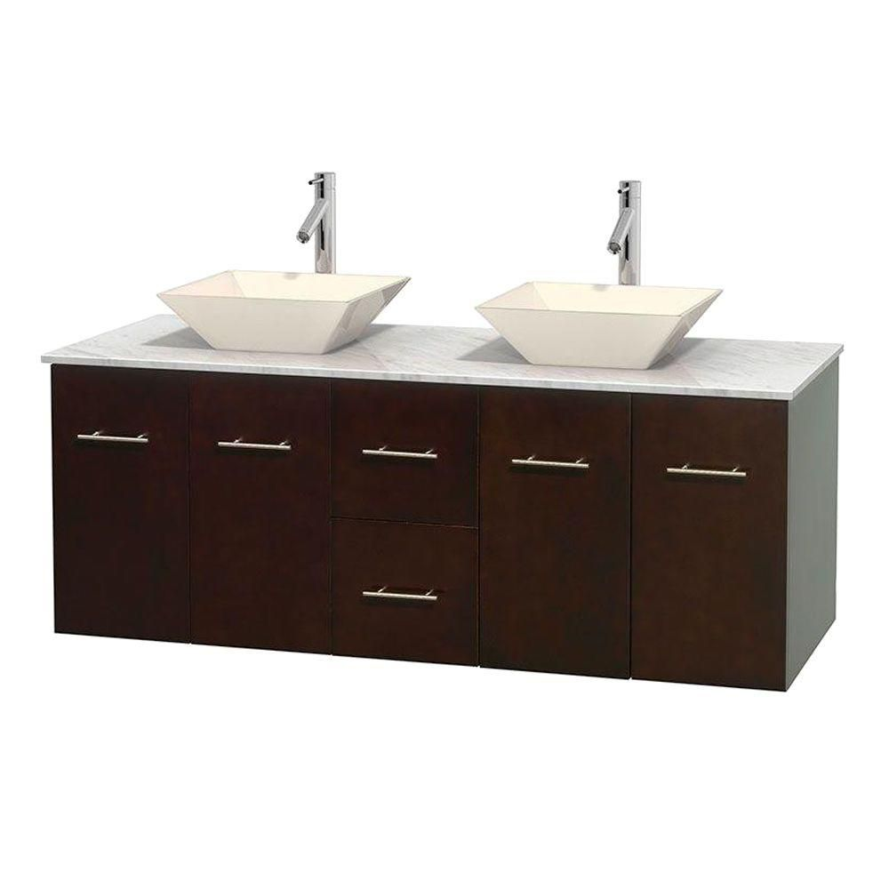 Centra 60-inch W Double Vanity in Espresso with White Top with Bone Basins