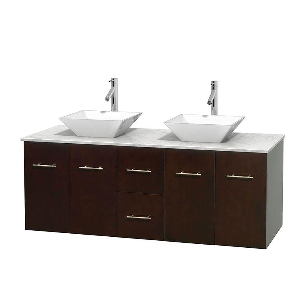 Meuble double Centra 60 po. espresso, comptoir blanc Carrare, lavabos porcelaine blanche sans mir...