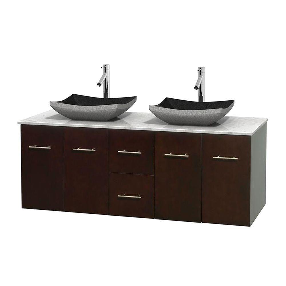 Meuble double Centra 60 po. espresso, comptoir blanc Carrare, lavabos granit noir, sans miroir