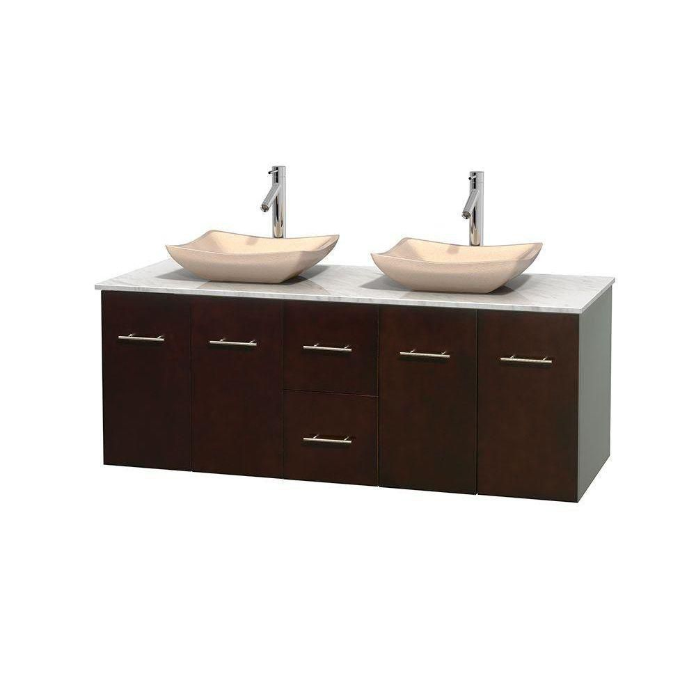 Centra 60-inch W Double Vanity in Espresso with White Top with Ivory Basins