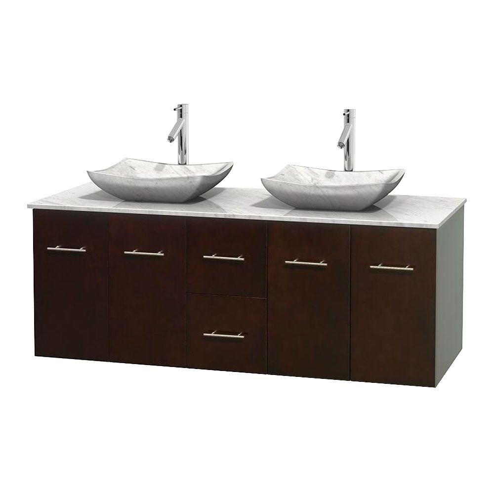 Meuble double Centra 60 po. espresso, comptoir blanc Carrare, lavabos blanc Carrare, sans miroir