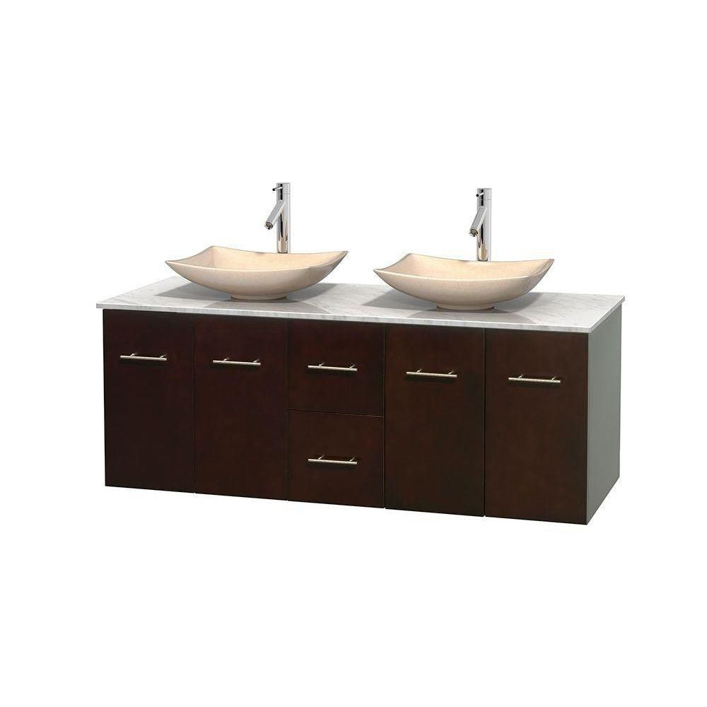 Centra 60 In. Double Vanity in Espresso with White Carrera Top with Ivory Sinks and No Mirror WCVW00960DESCMGS5MXX Canada Discount