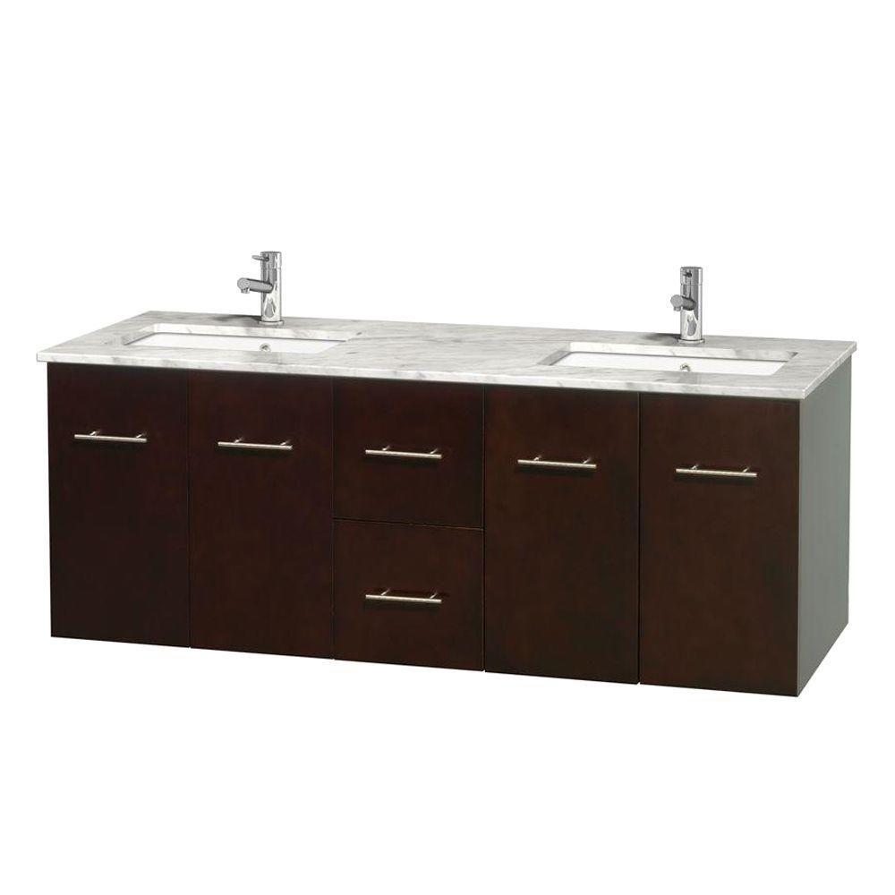 Meuble double Centra 60 po. espresso, comptoir blanc Carrare, lavabos carrés sans miroir