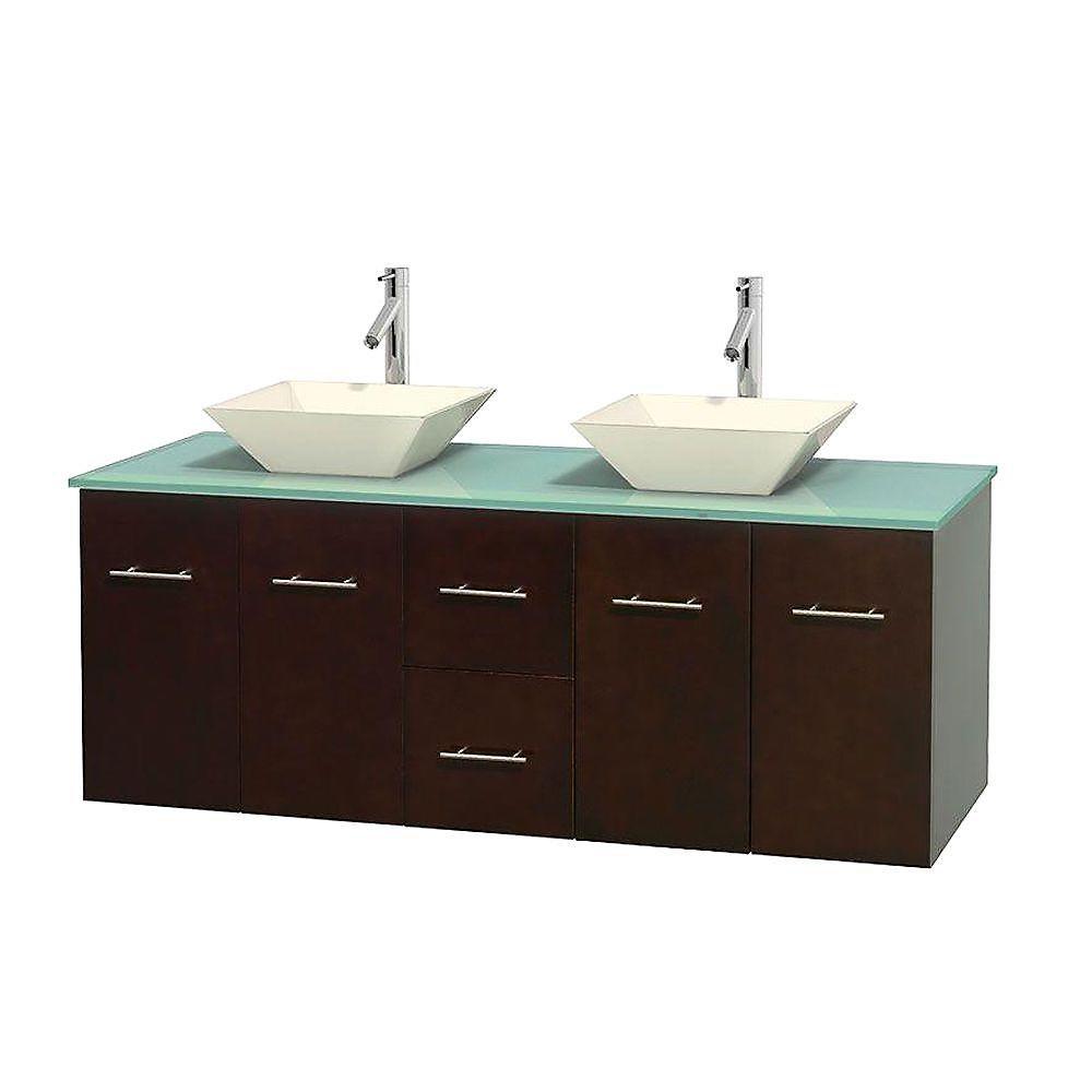 Meuble double Centra 60 po. espresso, comptoir verre vert, lavabos porcelaine bone sans miroir
