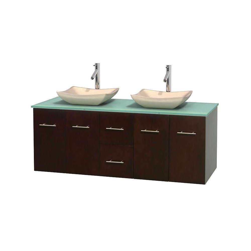 Meuble double Centra 60 po. espresso, comptoir verre vert, lavabos ivoire, sans miroir