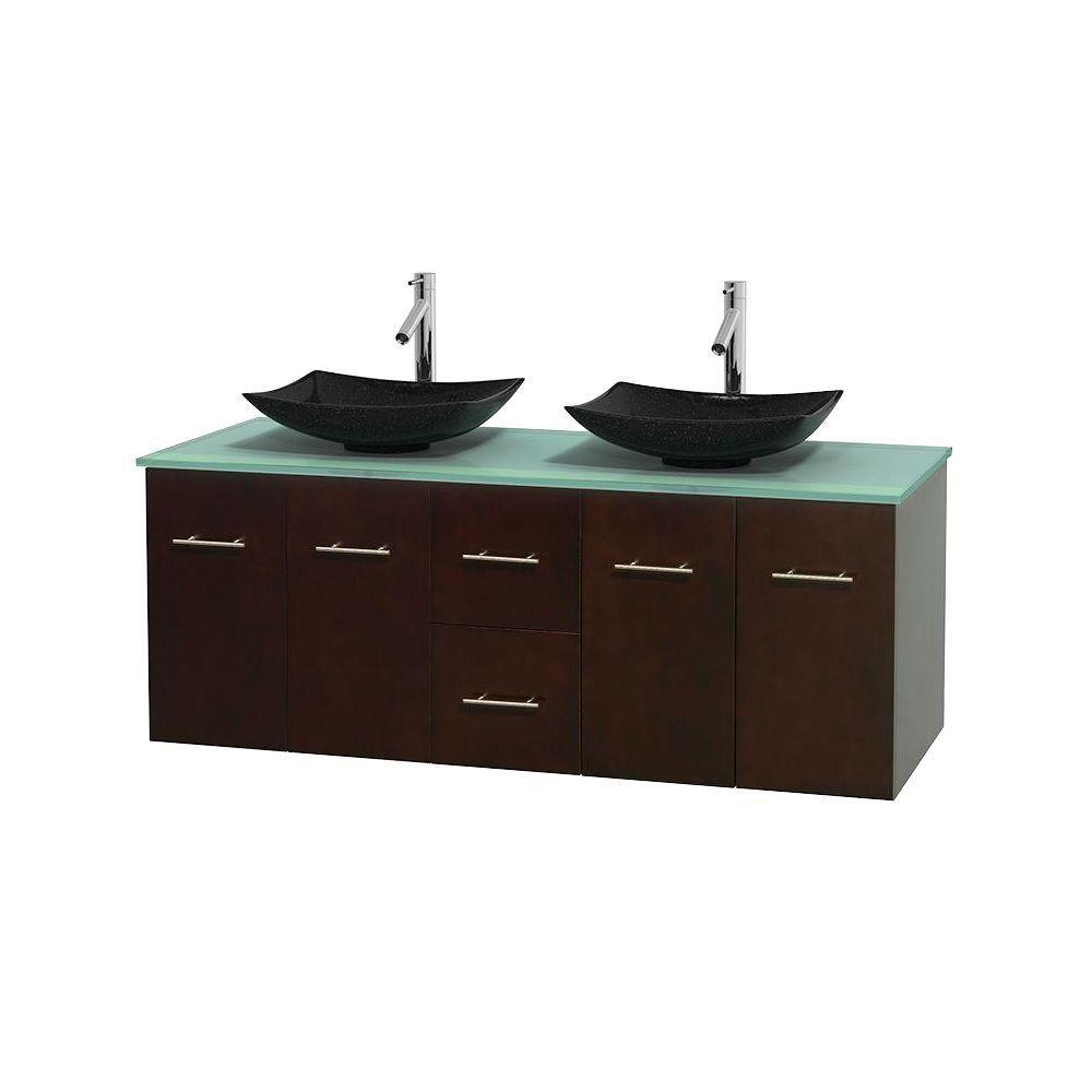 Meuble double Centra 60 po. espresso, comptoir verre vert, lavabos granit noir, sans miroir