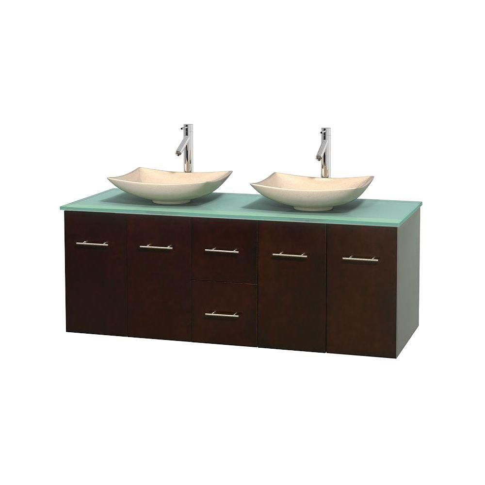 Centra 60-inch W Double Vanity in Espresso with Glass Top with Ivory Basins