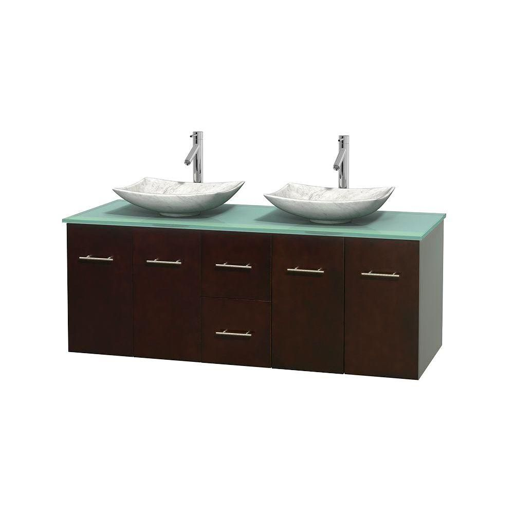 Centra 60-inch W Double Vanity in Espresso with Glass Top with White Basins