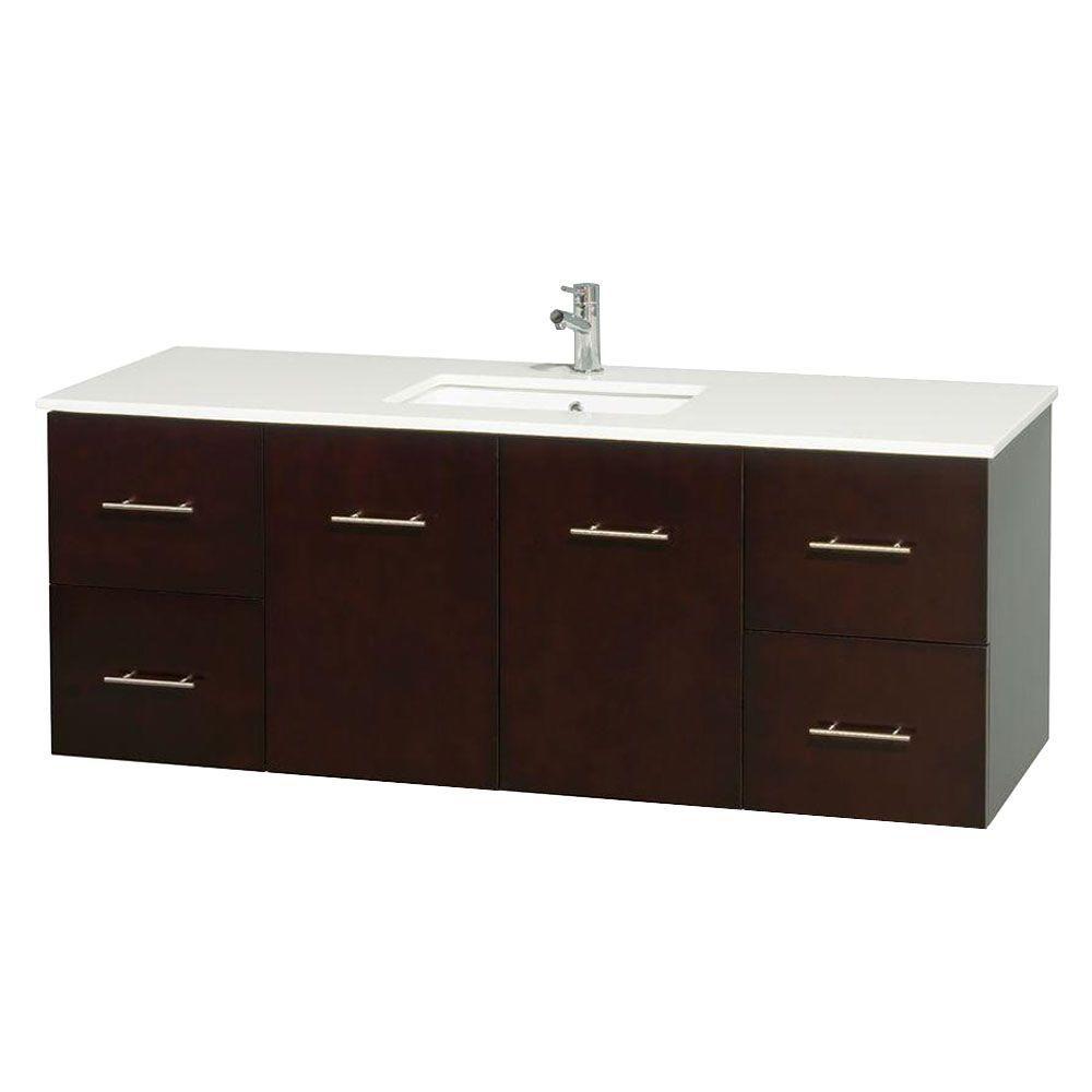 Meuble unique Centra 60 po. espresso, comptoir solide, lavabo carré sans miroir