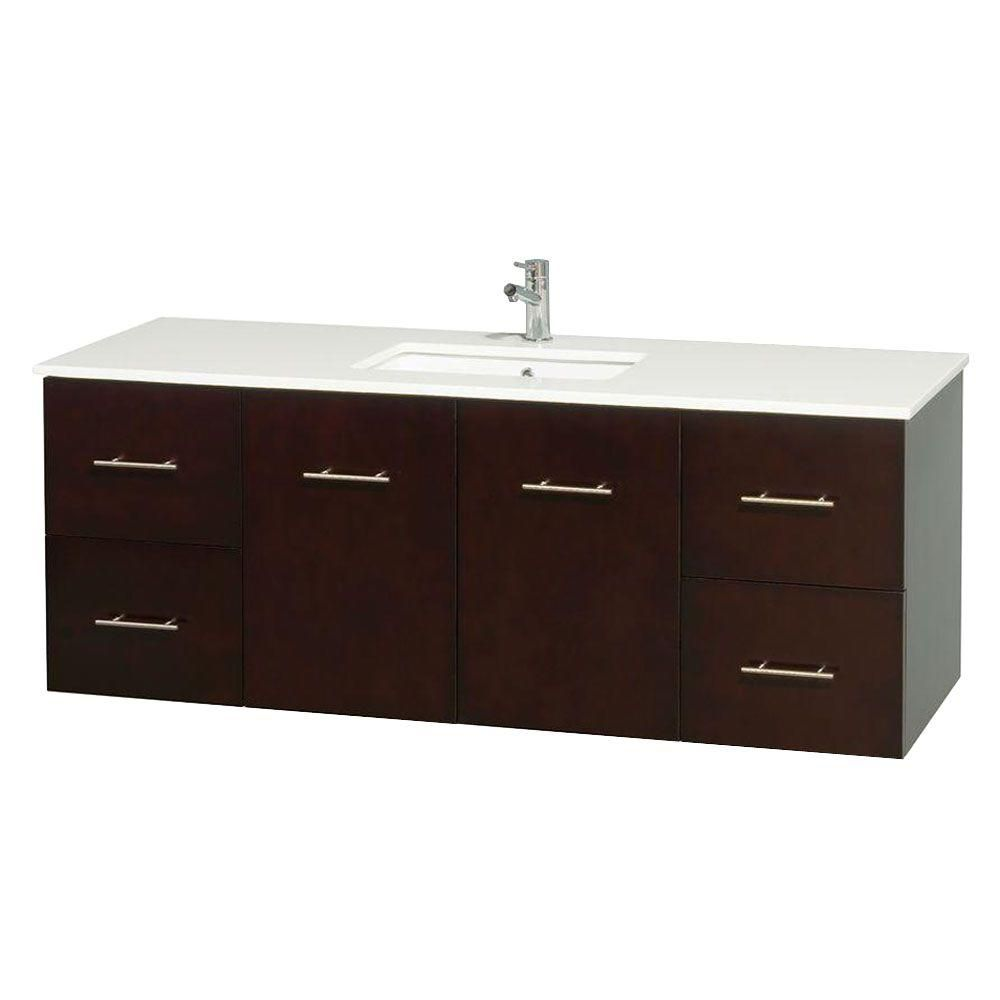Centra 60-inch W Vanity in Espresso with Solid Top with Square Basin