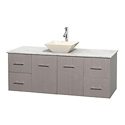 Wyndham Collection Centra 60-inch W 4-Drawer 2-Door Wall Mounted Vanity in Grey With Marble Top in White