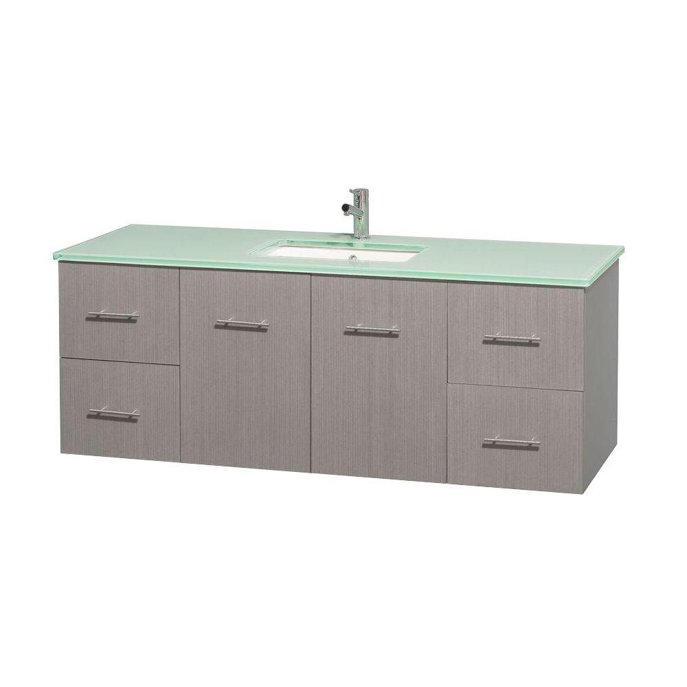 Centra 60-inch W Vanity in Grey Oak with Glass Top in Green and Square Sink