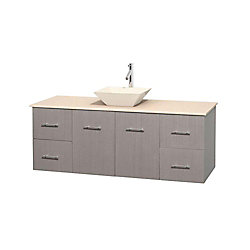 Wyndham Collection Centra 60-inch W 4-Drawer 2-Door Wall Mounted Vanity in Grey With Marble Top in Beige Tan