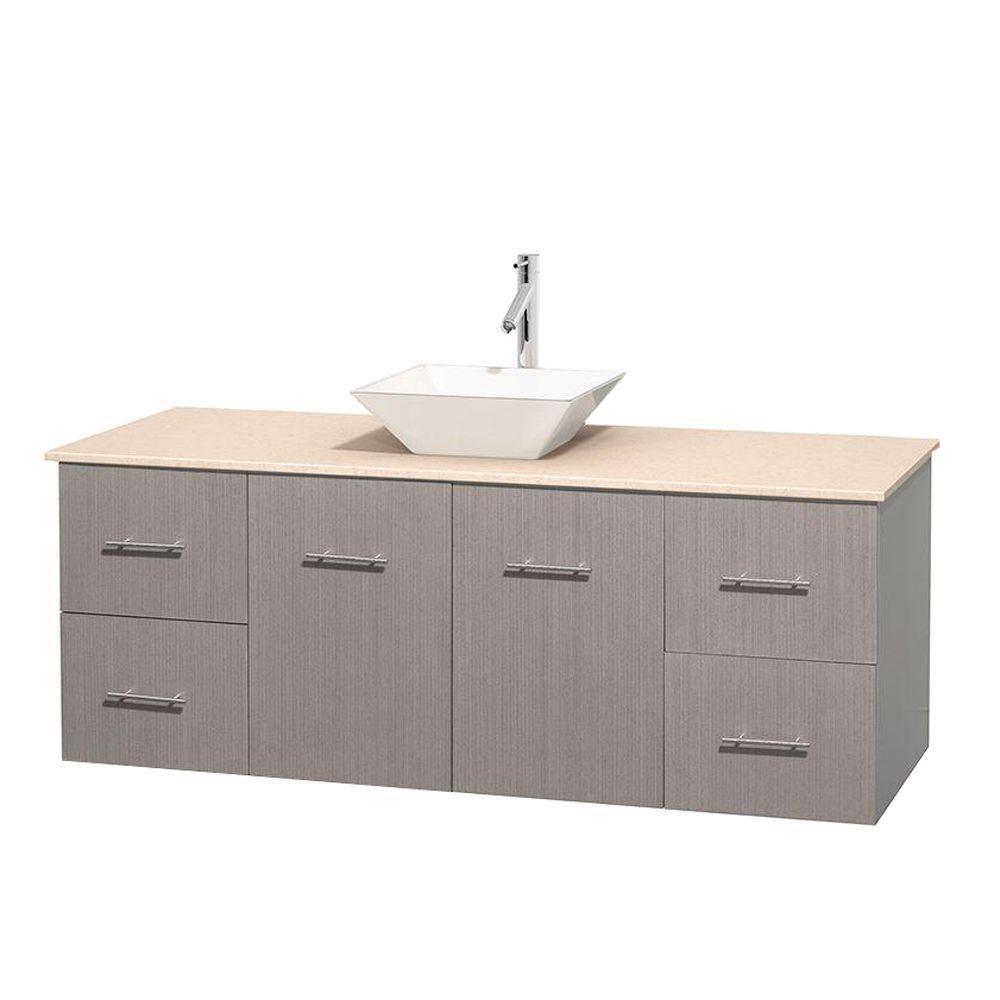 Meuble unique Centra 60 po. chêne gris, comptoir marbre ivoire, lavabo porcelaine blanche sans mi...