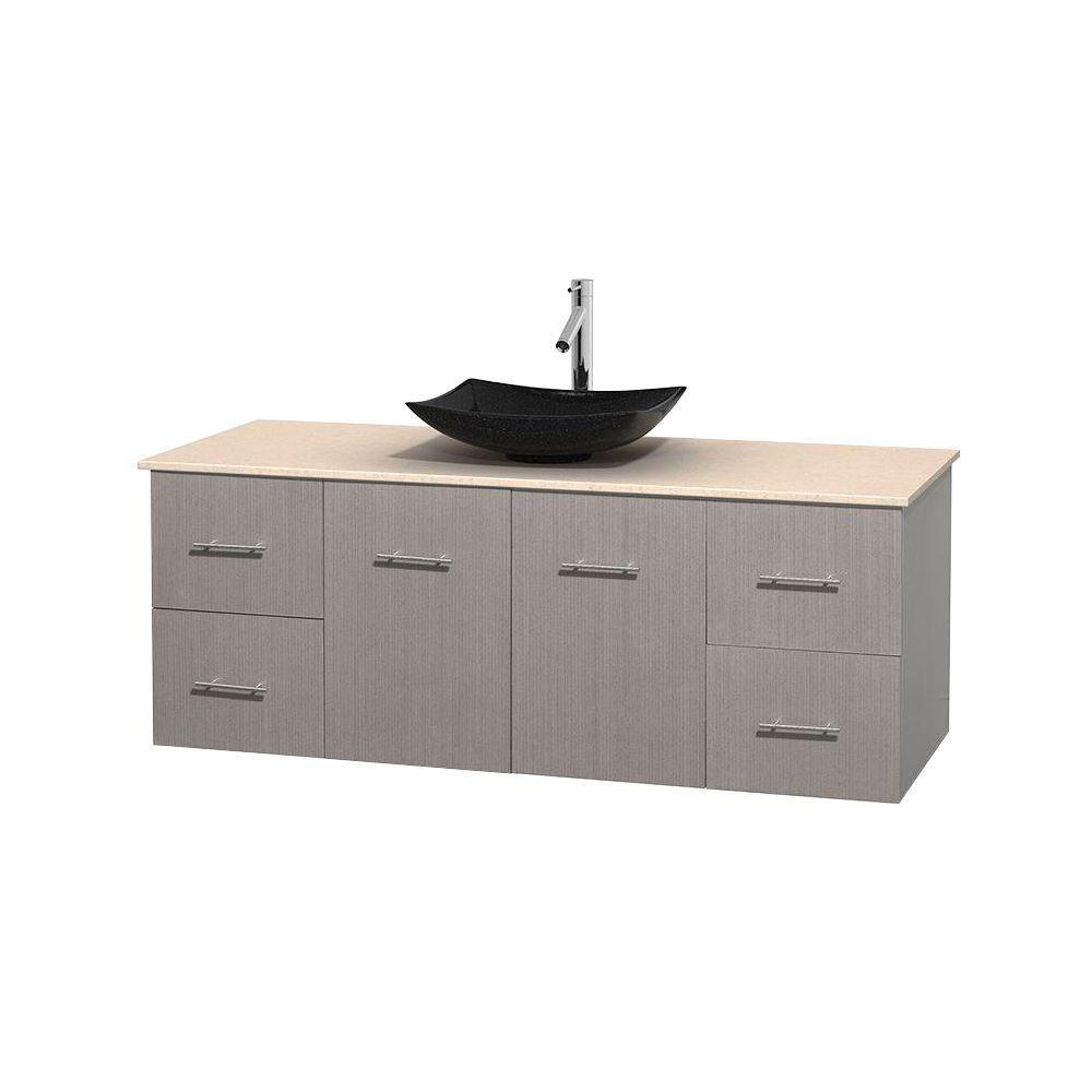 Meuble simple Centra 60 po. chêne gris, comptoir marbre ivoire, lavabo granit noir, sans miroir