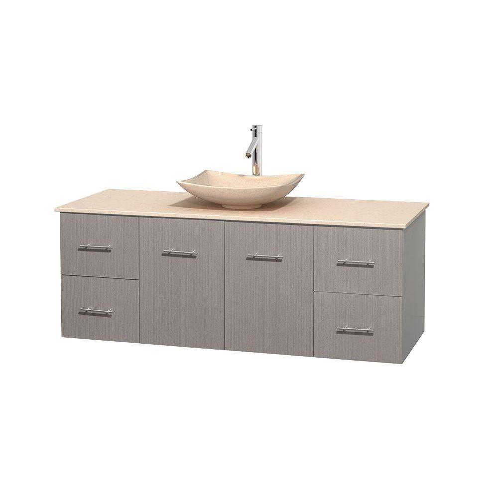 Meuble simple Centra 60 po. chêne gris, comptoir marbre ivoire, lavabo ivoire, sans miroir