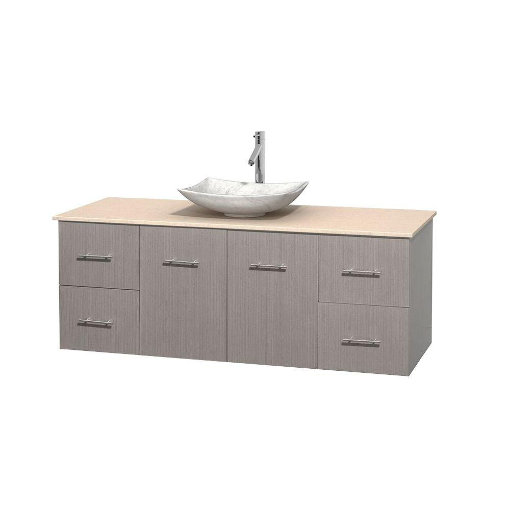 Centra 60-inch W Vanity in Grey Oak with Marble Top in Ivory with White Basin