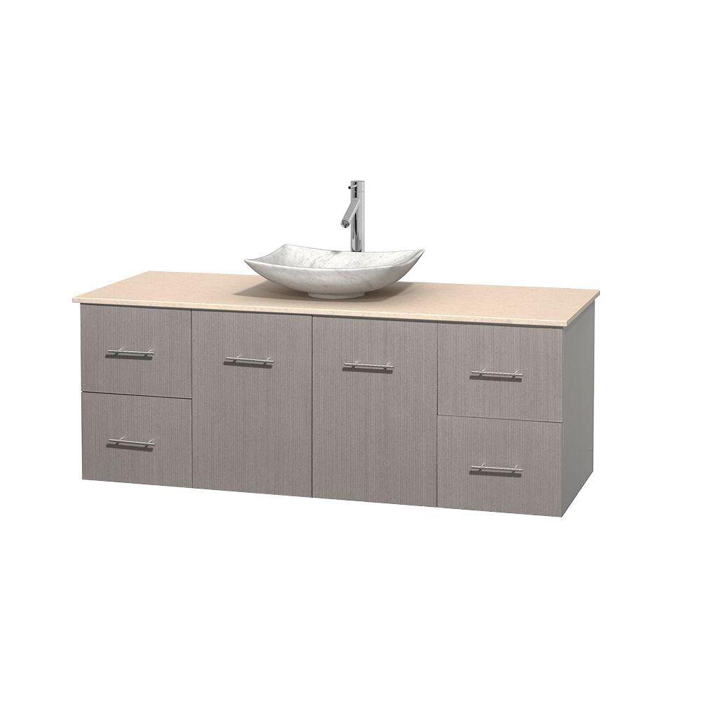 Meuble simple Centra 60 po. chêne gris, comptoir marbre ivoire, lavabo blanc Carrare, sans miroir