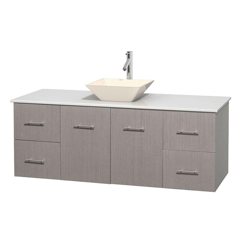 Centra 60-inch W Vanity in Grey Oak with Solid Top with Bone Basin