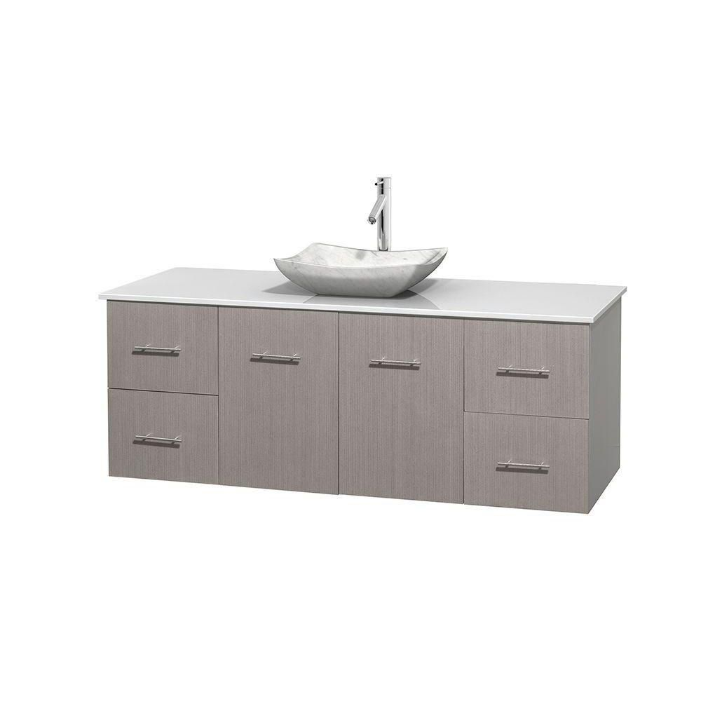 Centra 60-inch W Vanity in Grey Oak with Solid Top with White Basin