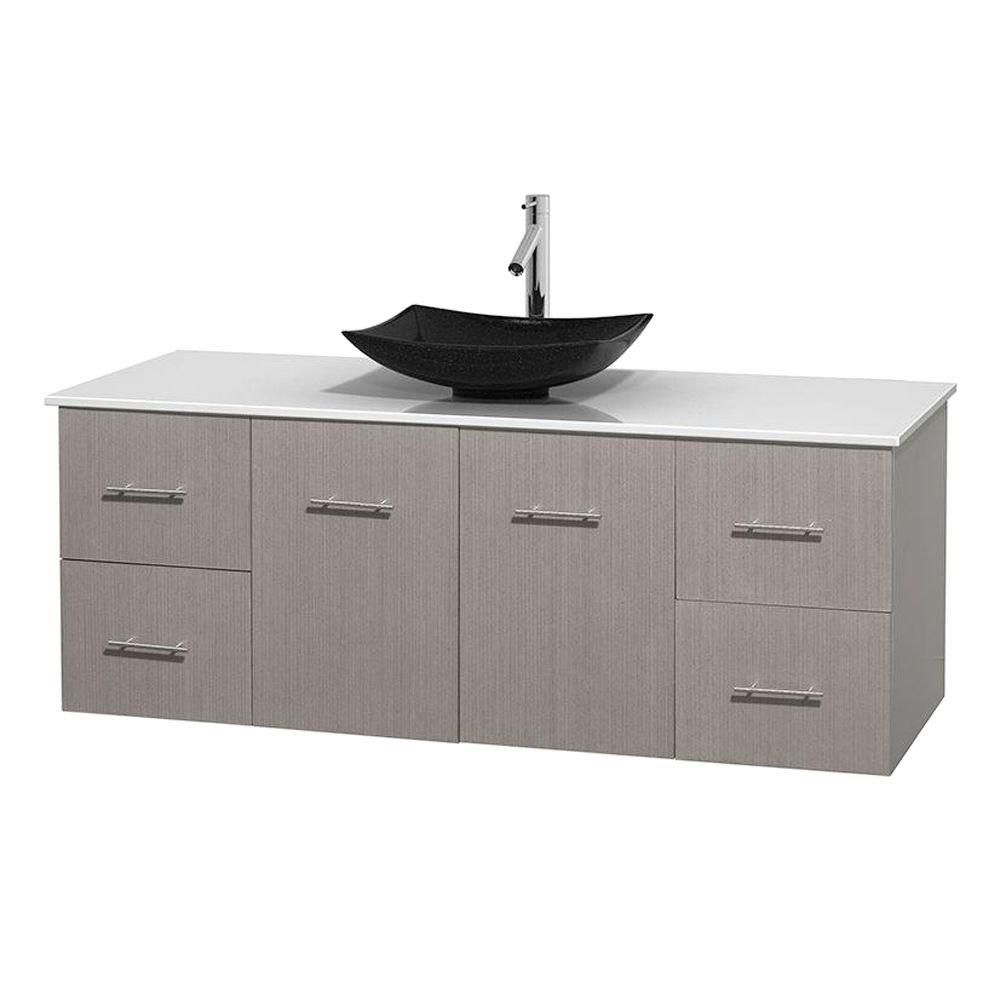 Meuble simple Centra 60 po. chêne gris, comptoir solide, lavabo granit noir, sans miroir