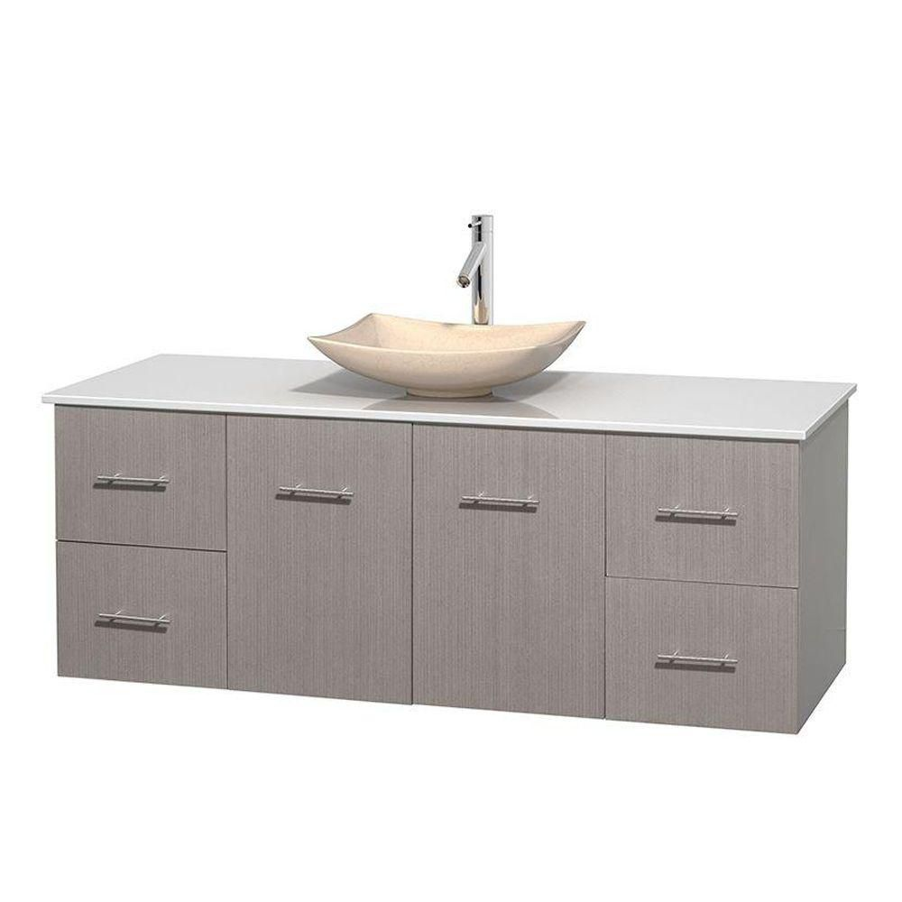 Centra 60-inch W Vanity in Grey Oak with Solid Top with Ivory Basin