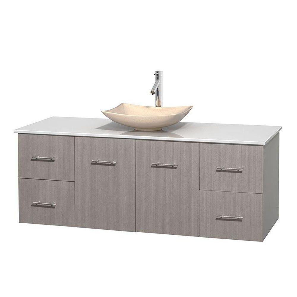 Meuble simple Centra 60 po. chêne gris, comptoir solide, lavabo ivoire, sans miroir
