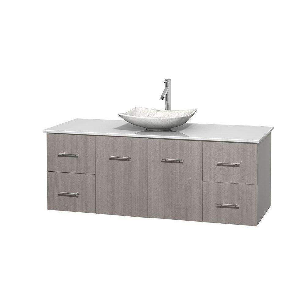 Meuble simple Centra 60 po. chêne gris, comptoir solide, lavabo blanc Carrare, sans miroir