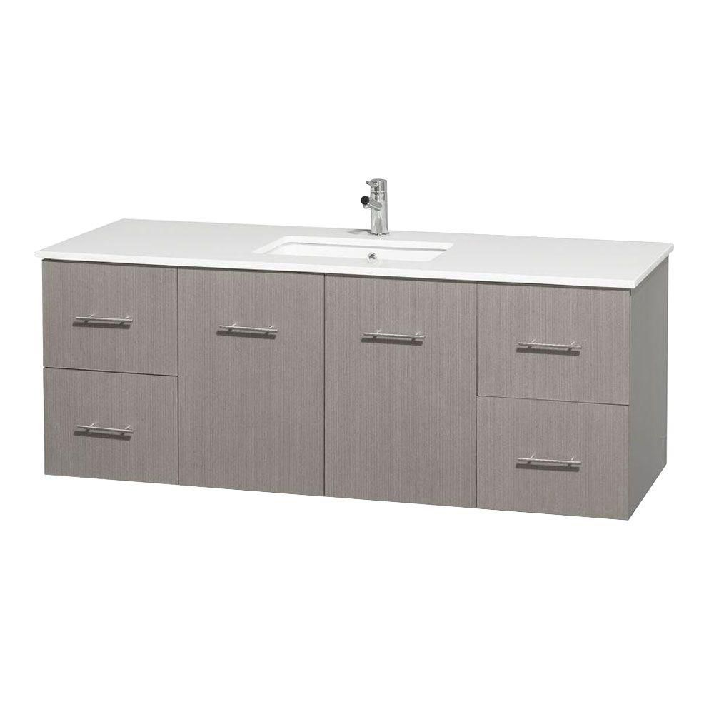 Meuble unique Centra 60 po. chêne gris, comptoir solide, lavabo carré sans miroir