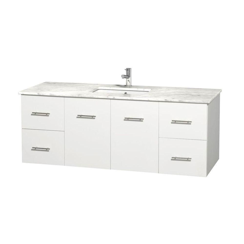 Centra 60-inch W Vanity in White with White Top with Square Basin