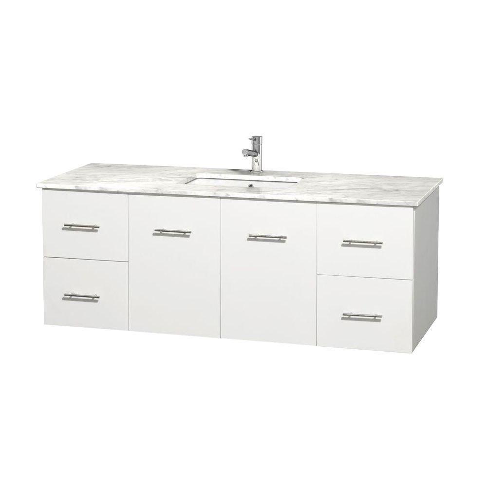 Meuble unique Centra 60 po. blanc, comptoir blanc Carrare, lavabo carré sans miroir