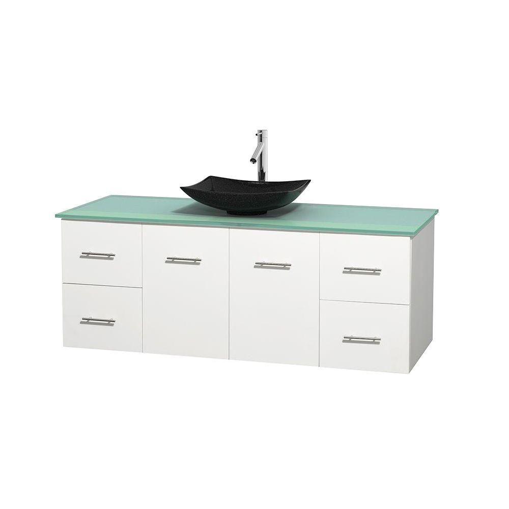 Centra 60-inch W 4-Drawer 2-Door Wall Mounted Vanity in White With Top in Green