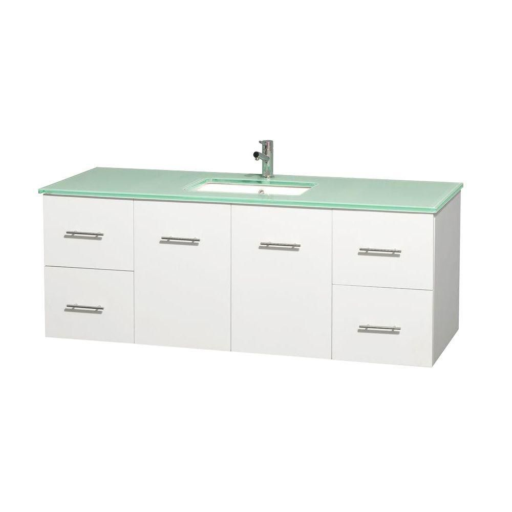 Centra 60-inch W Vanity in White with Glass Top with Square Basin