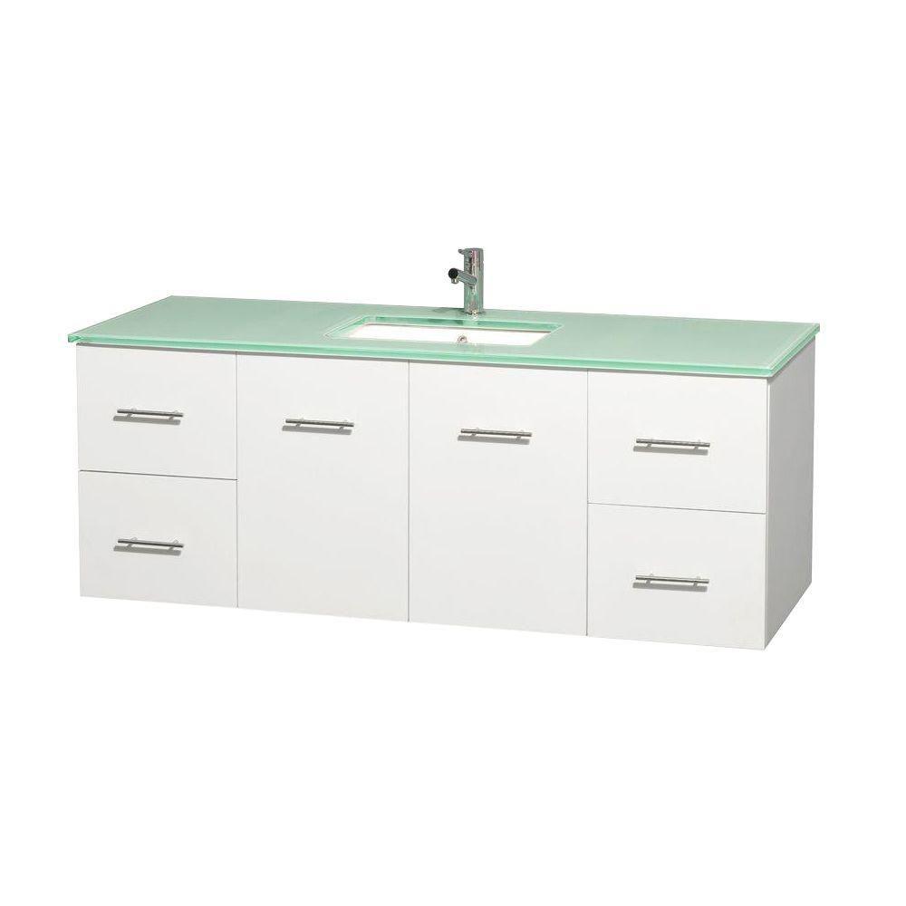 Meuble unique Centra 60 po. blanc, comptoir verre vert, lavabo carré sans miroir