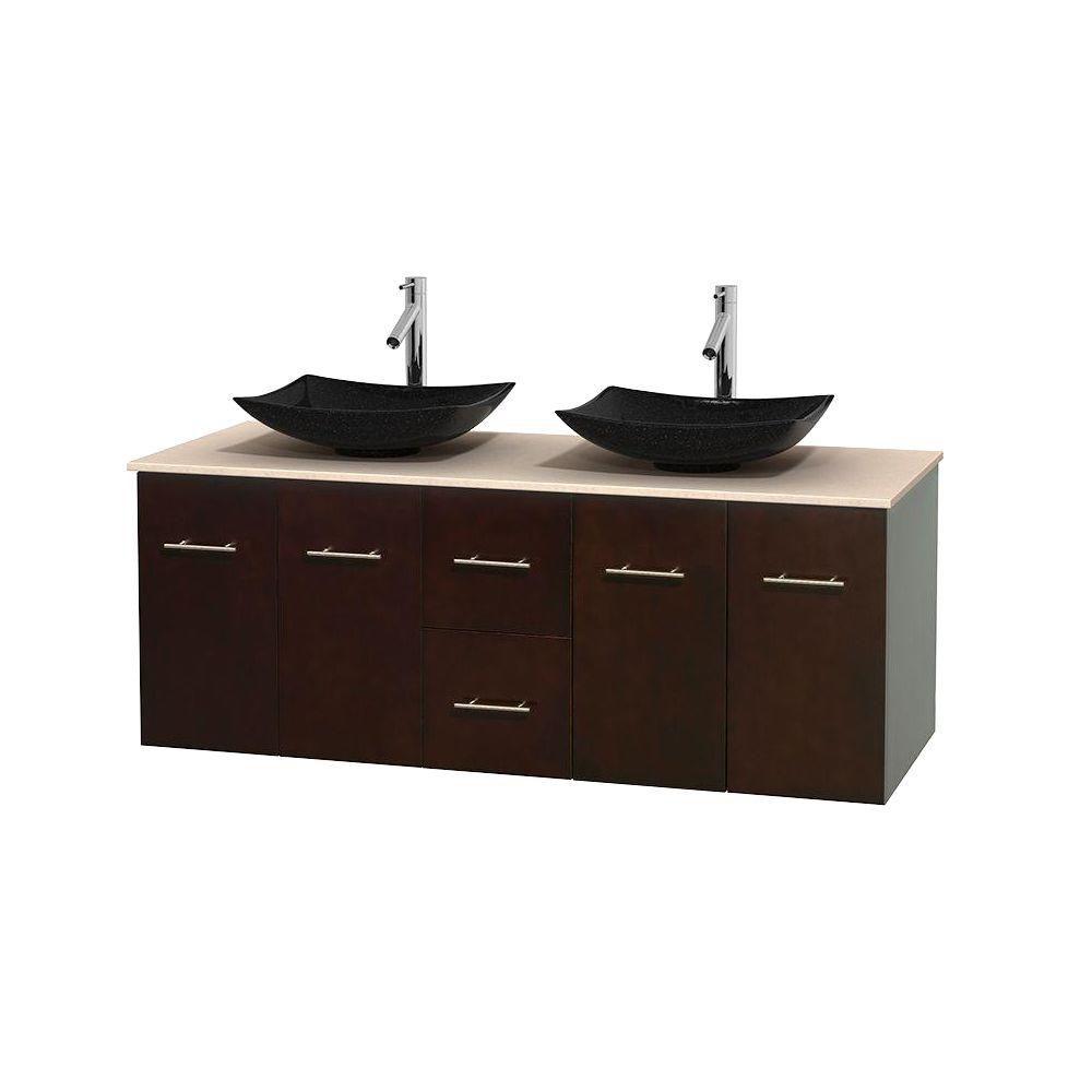 Meuble double Centra 60 po. espresso, comptoir marbre ivoire, lavabos granit noir, sans miroir