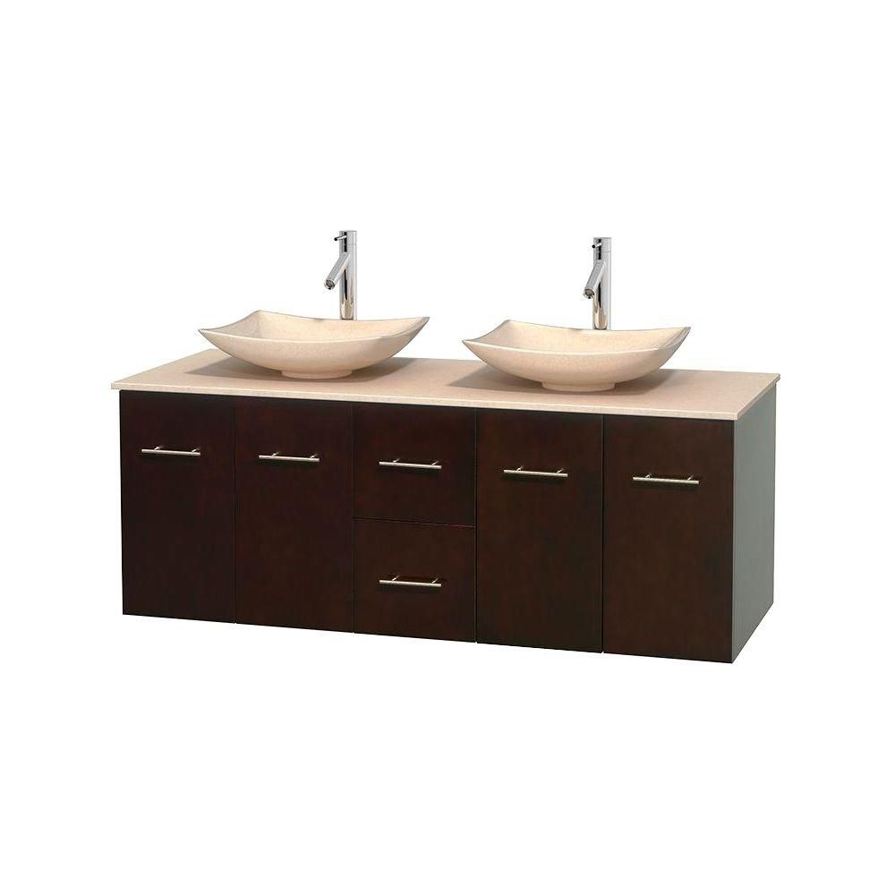 Centra 60-inch W Double Vanity in Espresso with Marble Top in Ivory with Ivory Basins