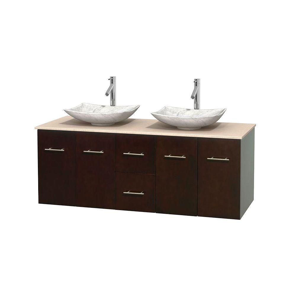 Centra 60-inch W Double Vanity in Espresso with Marble Top in Ivory with White Basins