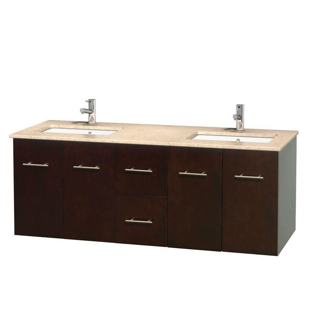 Centra 60-inch W Double Vanity in Espresso with Marble Top in Ivory with Square Basins