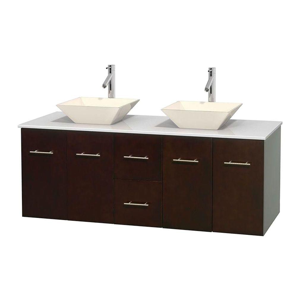 Centra 60-inch W Double Vanity in Espresso with Solid Top with Bone Basins