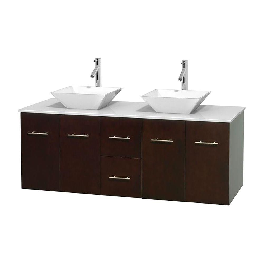 Meuble double Centra 60 po. espresso, comptoir solide, lavabos porcelaine blanche sans miroir